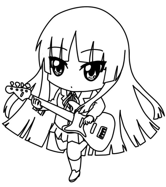 Chibi Coloring Pages Anime Girl With Guitar