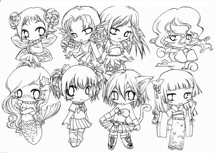 Chibi Coloring Pages For Adults