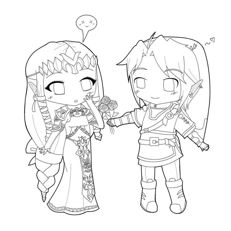 Chibi Couple Coloring Pages
