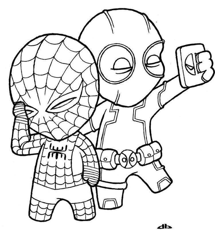 Chibi Deadpool Coloring Pages And Spiderman