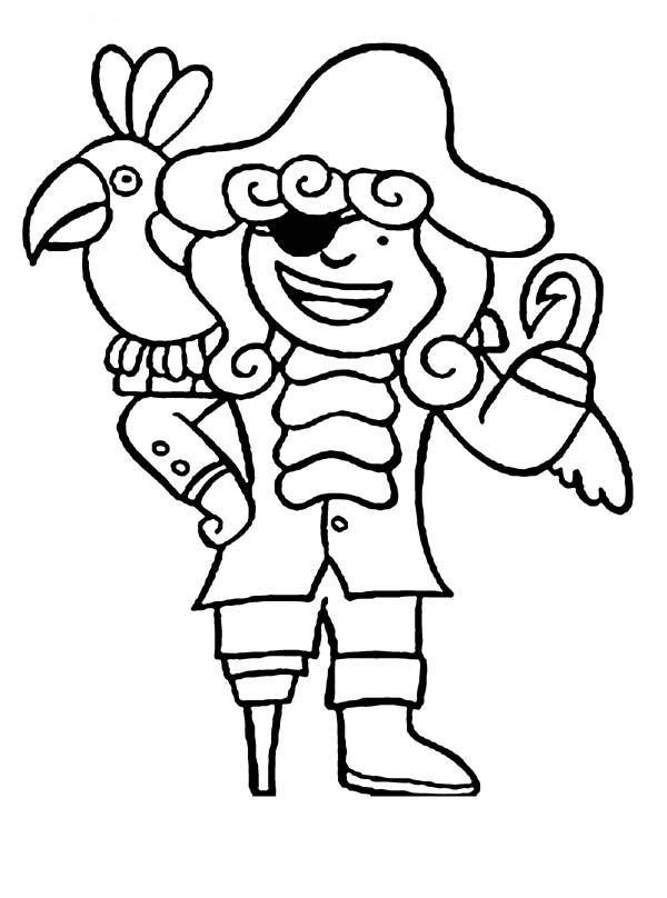 Chibi Hook Pirate And His Parrot Coloring Pages