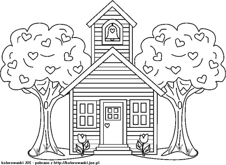 Child School House Coloring Pages