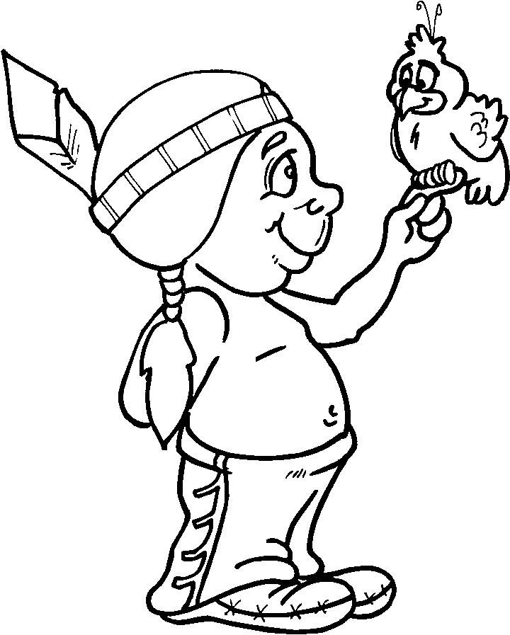 Childern Thanksgiving Coloring Pages Of Indians