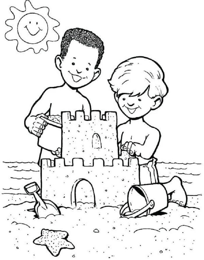 Childrens Vacation Coloring Pages