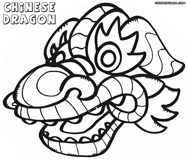 Chinese Dragon Mask Coloring Picture