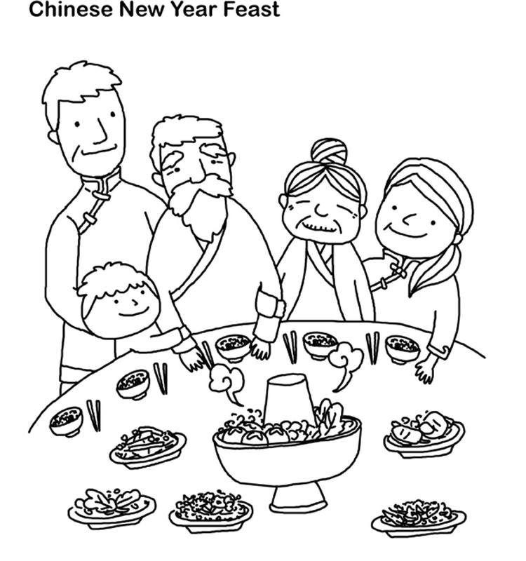 Chinese New Year Coloring Pages Feast