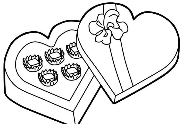 Chocolate For Valentine Coloring Pages