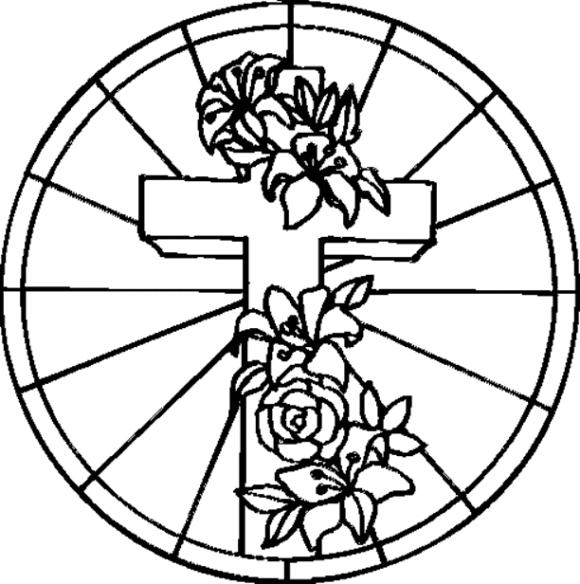 Christian Coloring Pages Cross And Roses