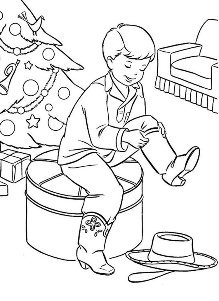 Christmas Coloring Page Boots For Present