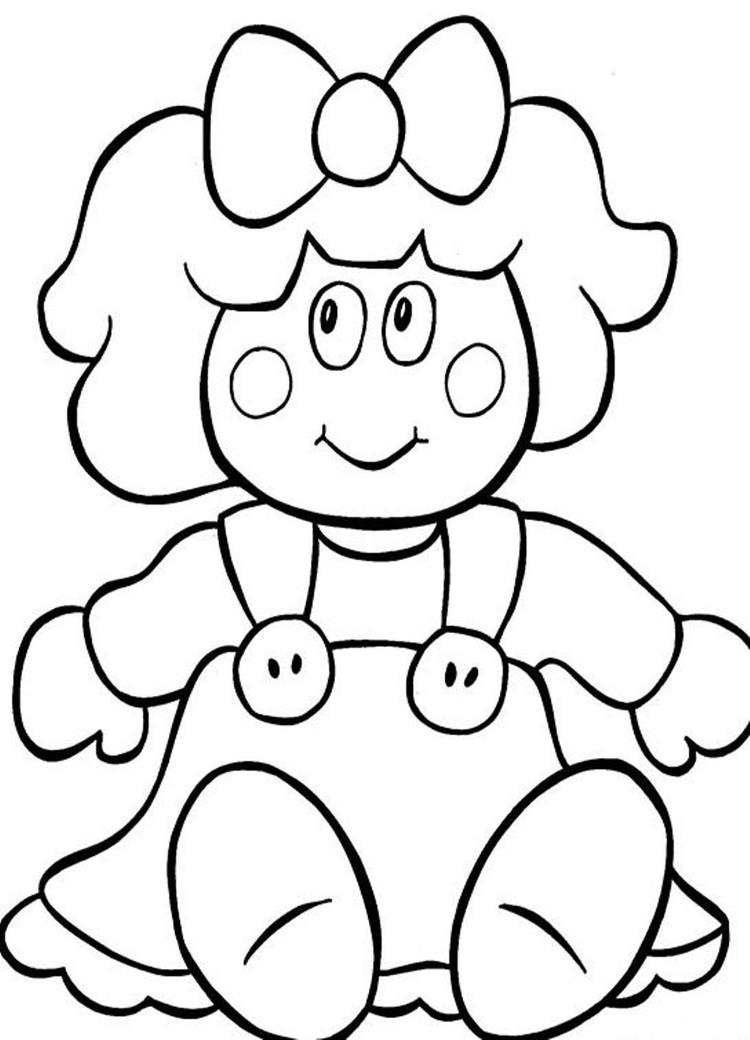 Christmas Coloring Page Doll For Present