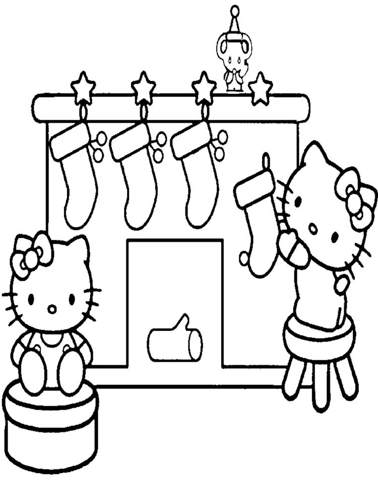Christmas Coloring Pages For Kids Hello Kitty Christmas Stockings