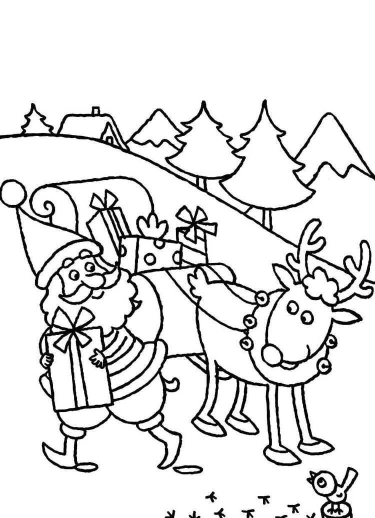 Christmas Coloring Pages For Kids Santa Claus Delivering Presents