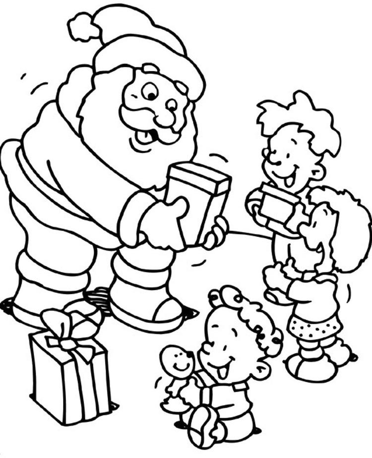 Christmas Coloring Pages For Kids Santa Giving Some Gifts To Kids