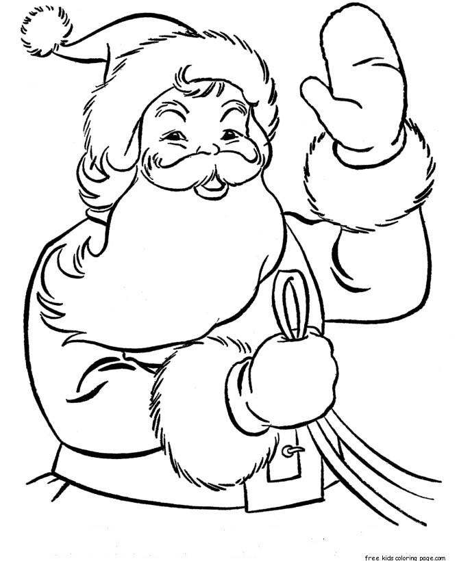 Christmas Coloring Pages Of Santa Waves To Children