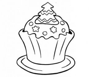 Christmas cupcake coloring pages