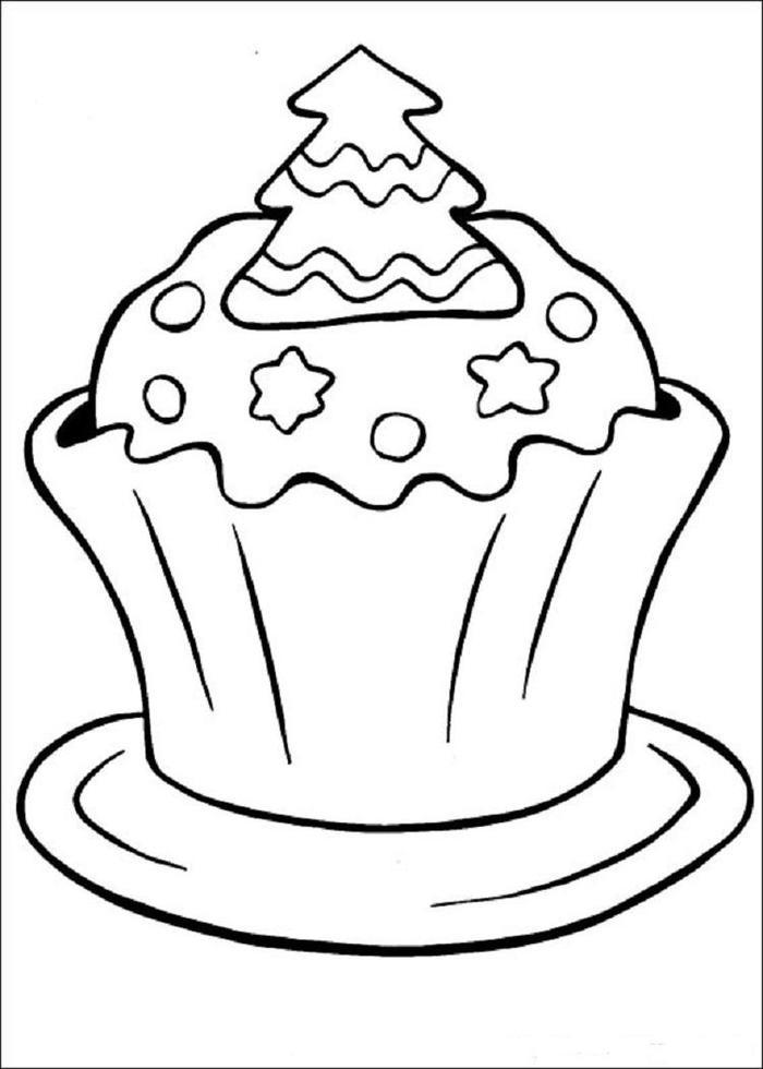 Christmas Cupcakes Coloring Pages