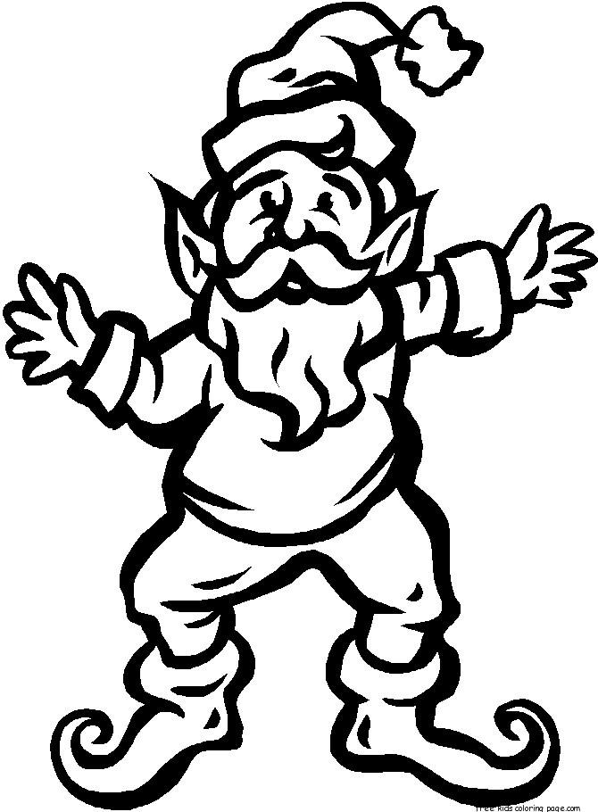 Christmas Elves Father Is Dancing Coloring Pages For Kids