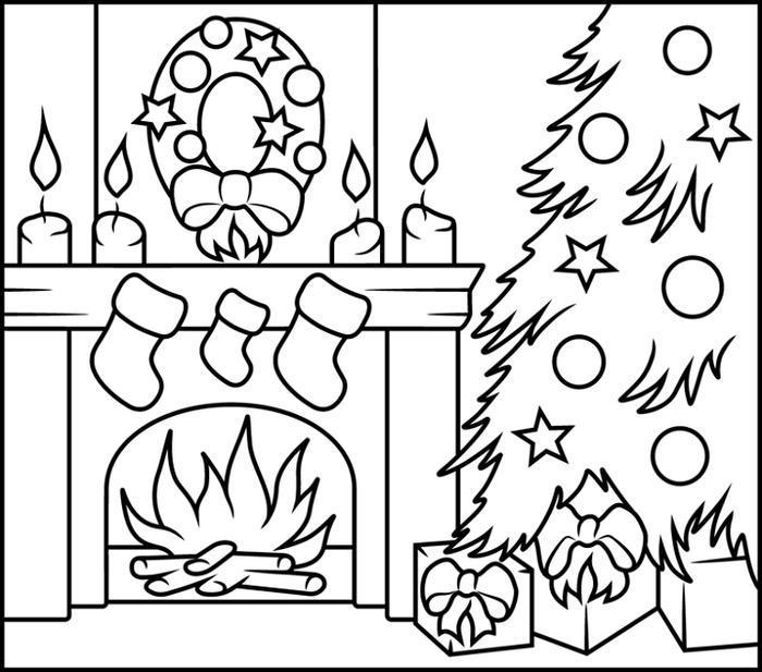 Christmas Fireplacecoloring Pages