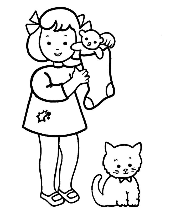 Christmas Girl Coloring Pages And Cat