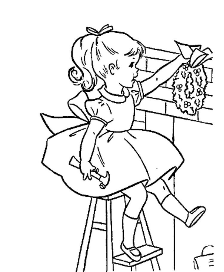 Christmas Girl Coloring Pages Decor