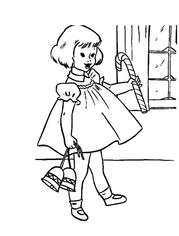 Christmas Girl Coloring Pages With Gifts