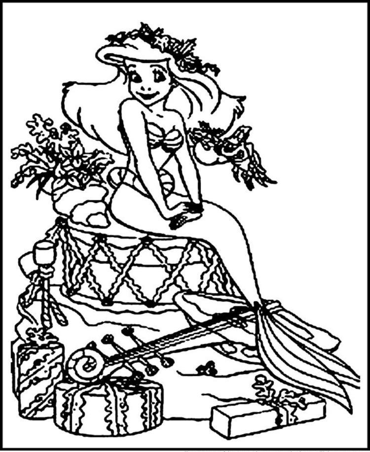 Christmas Mermaid Coloring Pages