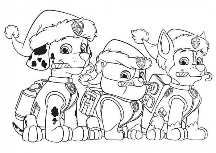 Christmas Paw Patrol Coloring Pages