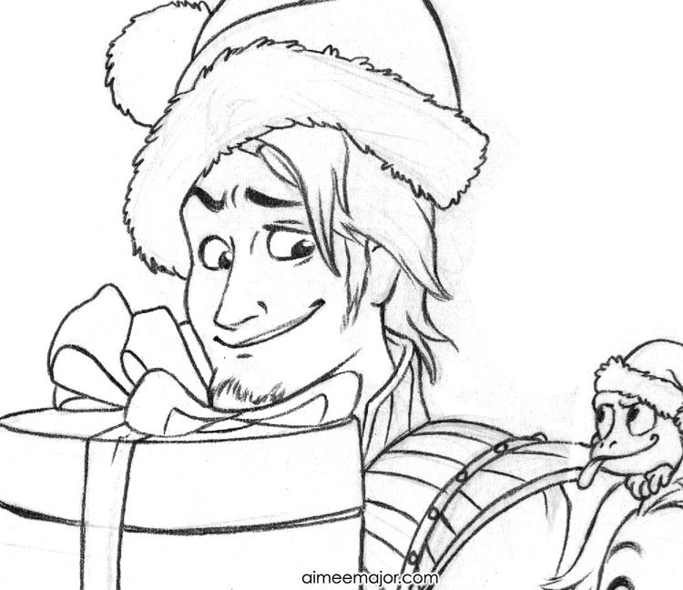 Christmas Rapunzel And Pascal Coloring Pages