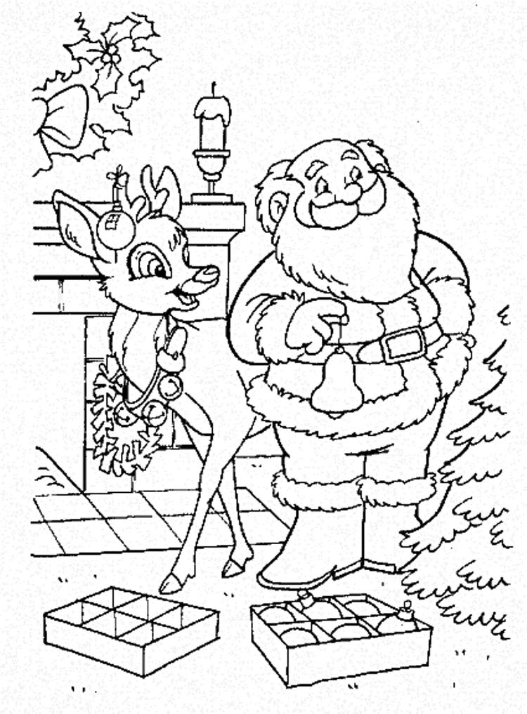 Christmas Reindeer Coloring Pages With Santa