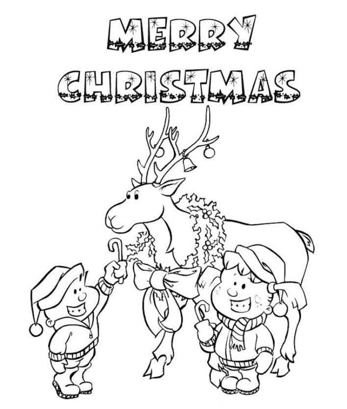 Christmas Reindeer Merry Christmas Coloring Page