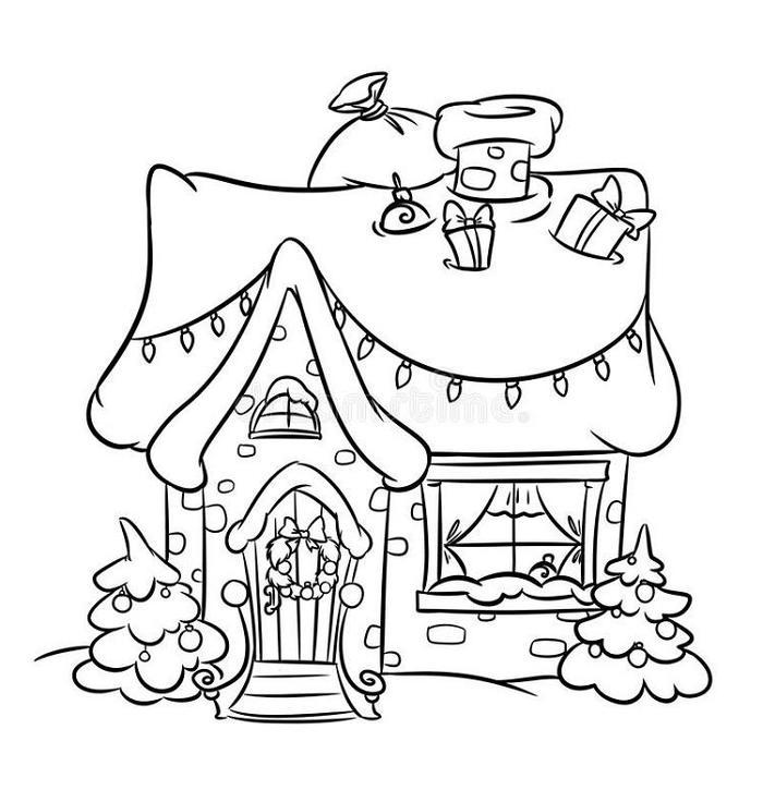 Christmas Snow House Coloring Pages