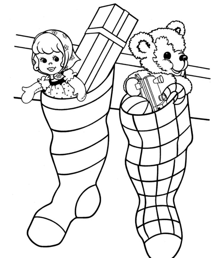Christmas Stocking Coloring Page Full With Gifts