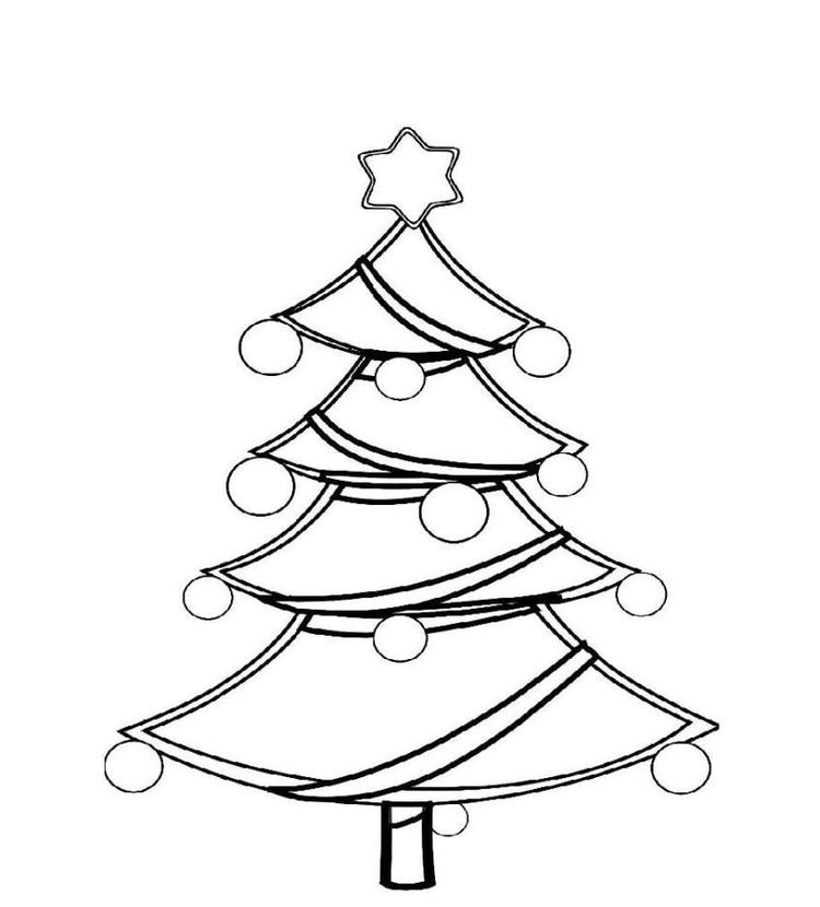Christmas Tree Coloring Book Page