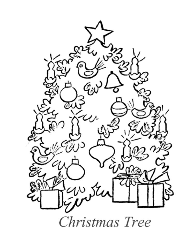 Christmas Tree Coloring Pages For Kids Printable Free