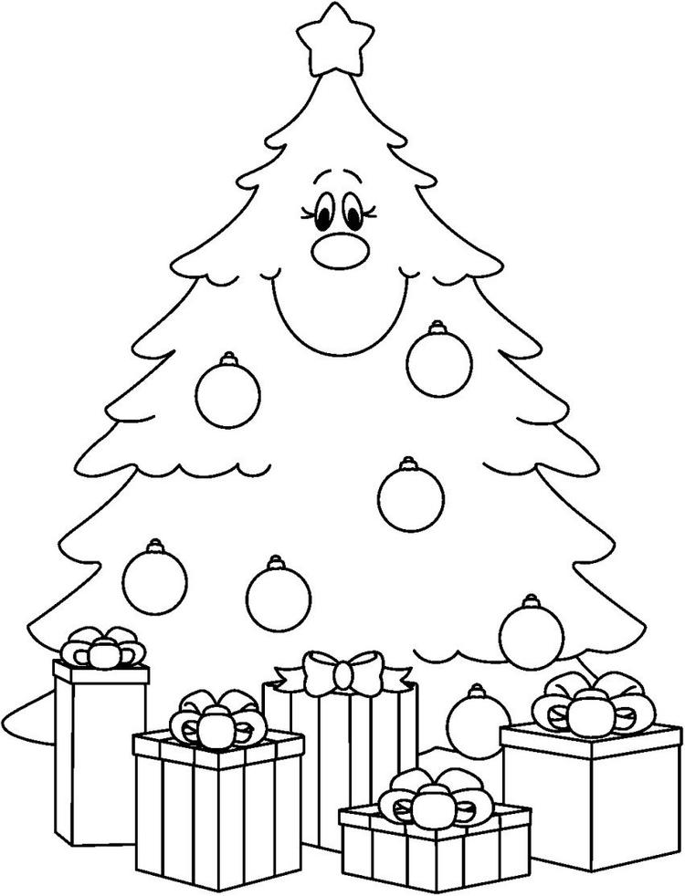 Christmas Tree Picture Coloring Page