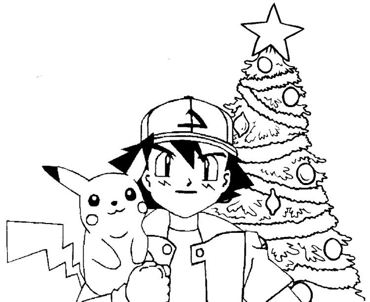 Christmast Pokemon Coloring Pages Pikachu
