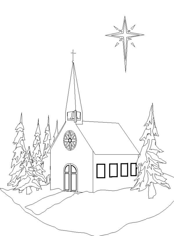 Church Coloring Pages In Winter
