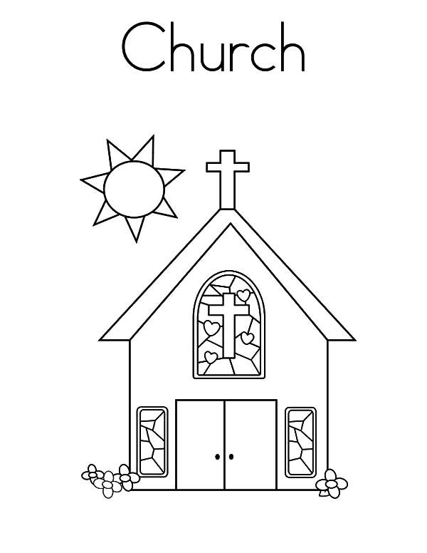 Church Coloring Pages With Sun