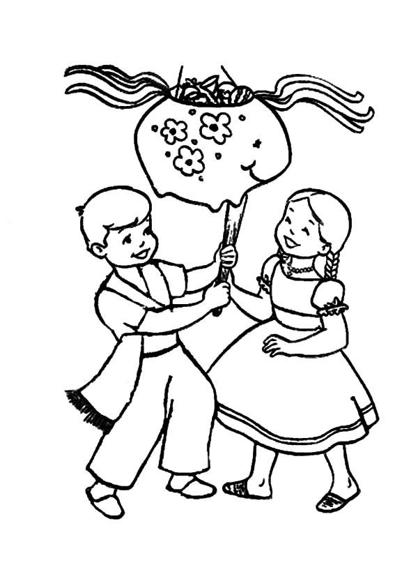 photograph relating to Cinco De Mayo Coloring Pages Printable referred to as Cinco De Mayo Coloring Webpages Hitting Pinata - Coloring Suggestions