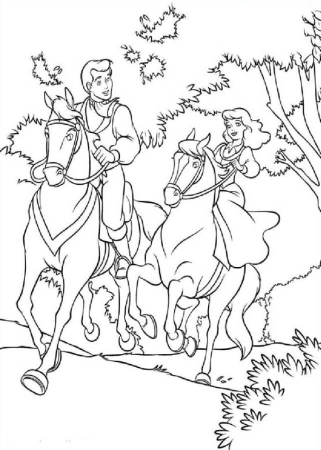 Cinderella And Prince Charming Horse Riding Coloring Pages