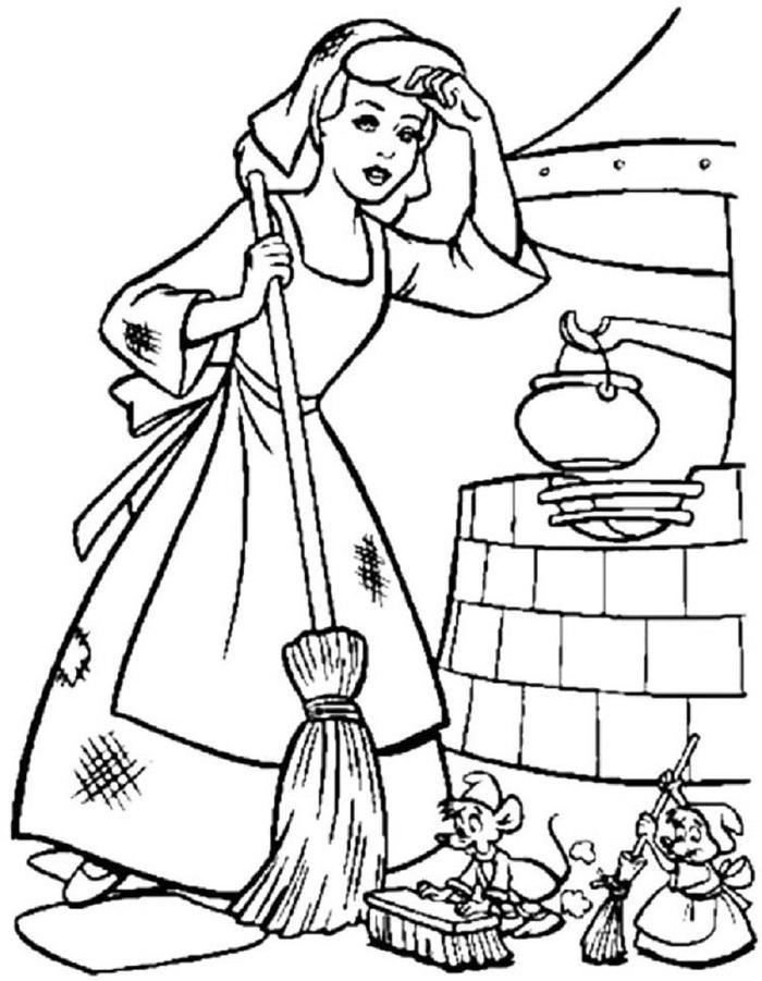 Cinderella Cleaning Coloring Pages