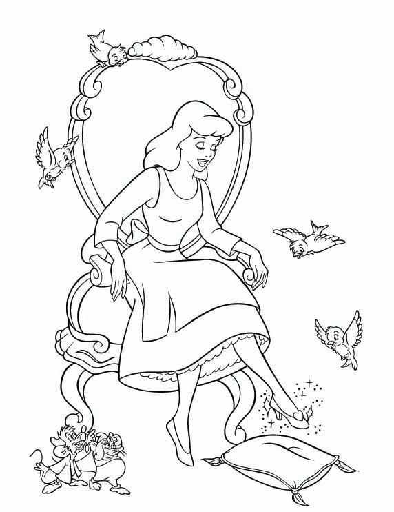 Cinderella Coloring Pages With Her Shoes