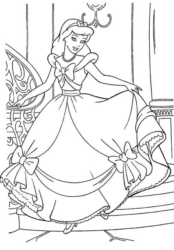 Cinderella Is Happy With Her Gown In Princesses Birthday Coloring Pages