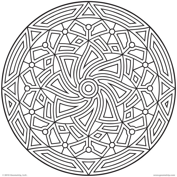 Circle Geometric Pattern Coloring Pages For Adults 1