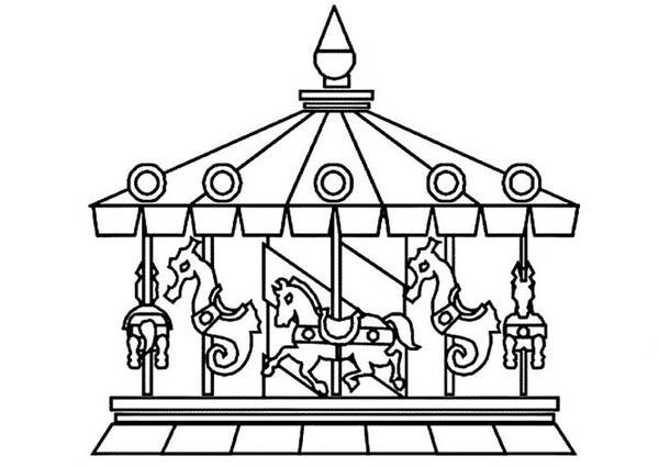 Circus And Carnival Beautiful Carousel Coloring Pages