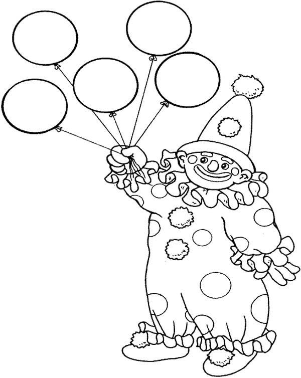 Circus And Carnival Clown Has Five Balloons Coloring Pages ...
