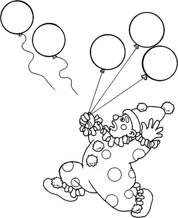 Circus And Carnival Clown Lose His Balloons Coloring Pages