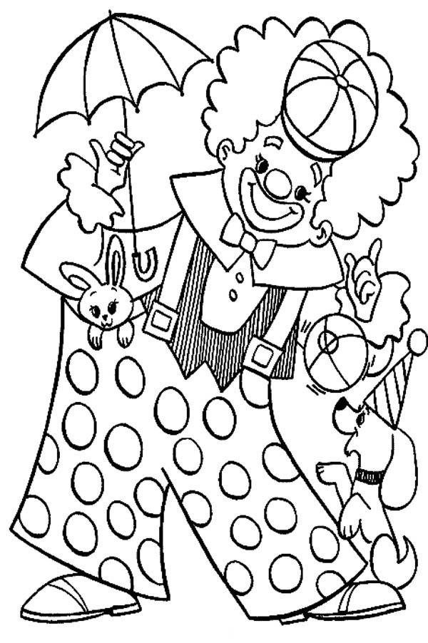 Circus And Carnival Clown Wearing Big Pants Coloring Pages