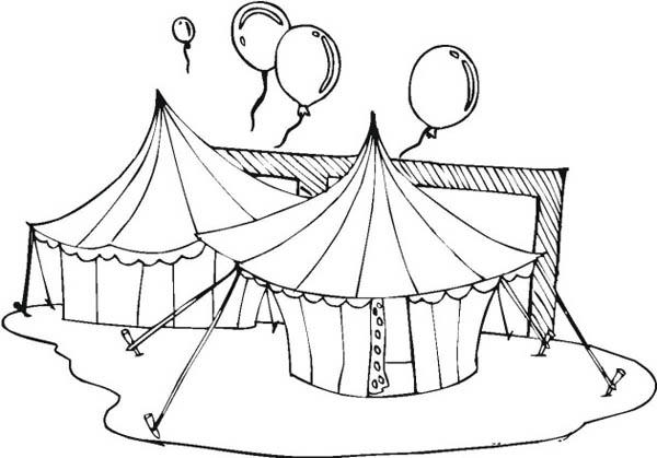 Circus And Carnival Tents And Balloons Coloring Pages