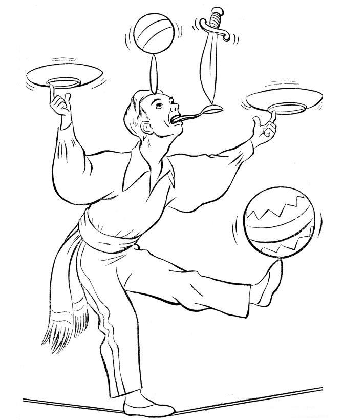 Circus Coloring Pages Tightrope Walking